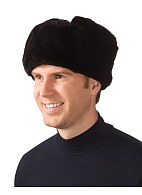 Woolen cloth top fur hat (black)