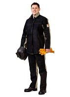 Welder combination work suit with genuine split leather