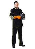 Welder combination work suit with genuine split leather and detachable heat-insulating liner