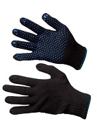 Wool blend gloves with polka dot PVC palm coating