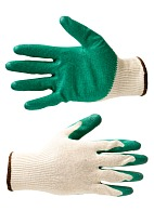 Knitted cotton gloves with latex palm coating