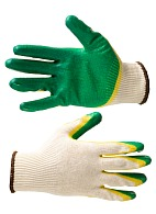 Knitted gloves with double latex palm coating