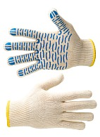 VOLNA knitted cotton gloves with spotted PVC coating (Gauge 10)
