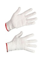 Knitted gloves, cotton + polyester (Gauge 13)