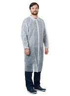 VISITOR Disposable lab coat (spunbond), snap button, white