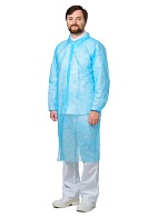 VISITOR Disposable lab coat (spunbond), Velcro closure, light blue