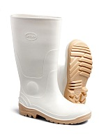 Oil-resistant PVC knee-high boots, white