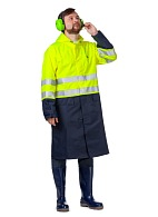"""Absolute"" men's high visibility raincoat (fluorescent yellow with dark blue)"