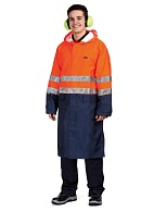 ABSOLUTE men's high visibility raincoat (fluorescent orange with dark blue)