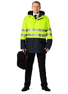 STORM CONTROL men's heat-insulated high-visibility windbreaker (fluorescent yellow with dark blue)