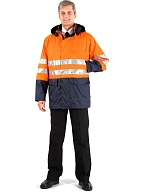 STORM CONTROL men's heat-insulated high visibility windbreaker, fluorescent orange with dark blue