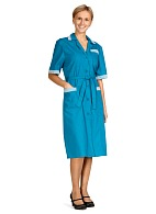 Ladies colored smock short sleeves, turquoise