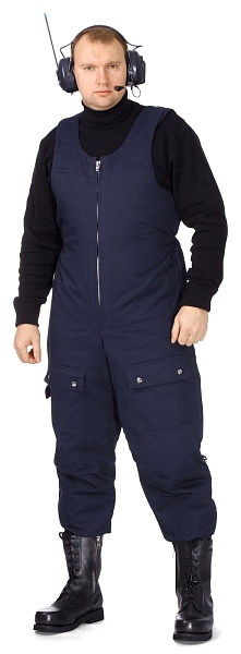 Men's fur-lined bib overall (blue)