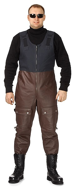 Men's leather bib overall