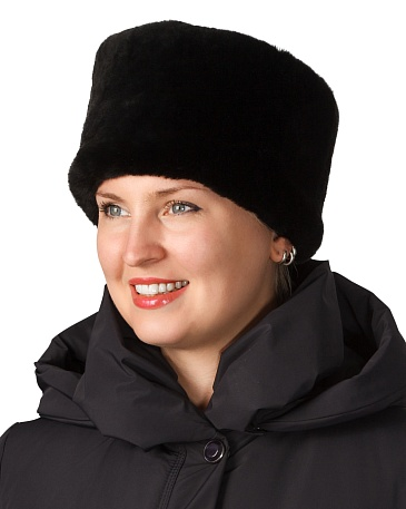 Women's leather top fur hat