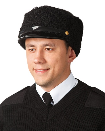Karakul leather top hat with lacquered peak