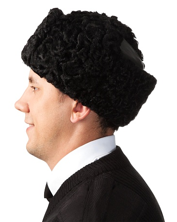 Leather top karakul hat