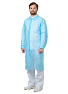 VISITOR Disposable lab coat (spunbond), snap button, light blue