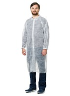 VISITOR Disposable lab coat (spunbond), Velcro closure, white