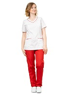 TERESA ladies medical blouse, white with red trim