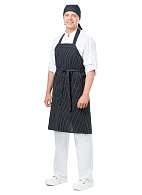 GRILL bib apron, black and white stripes